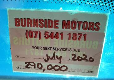 Burnside Motors Service Sticker